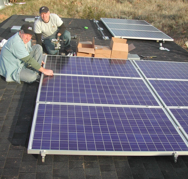 Up On The Roof Roof mounted solar system in process.